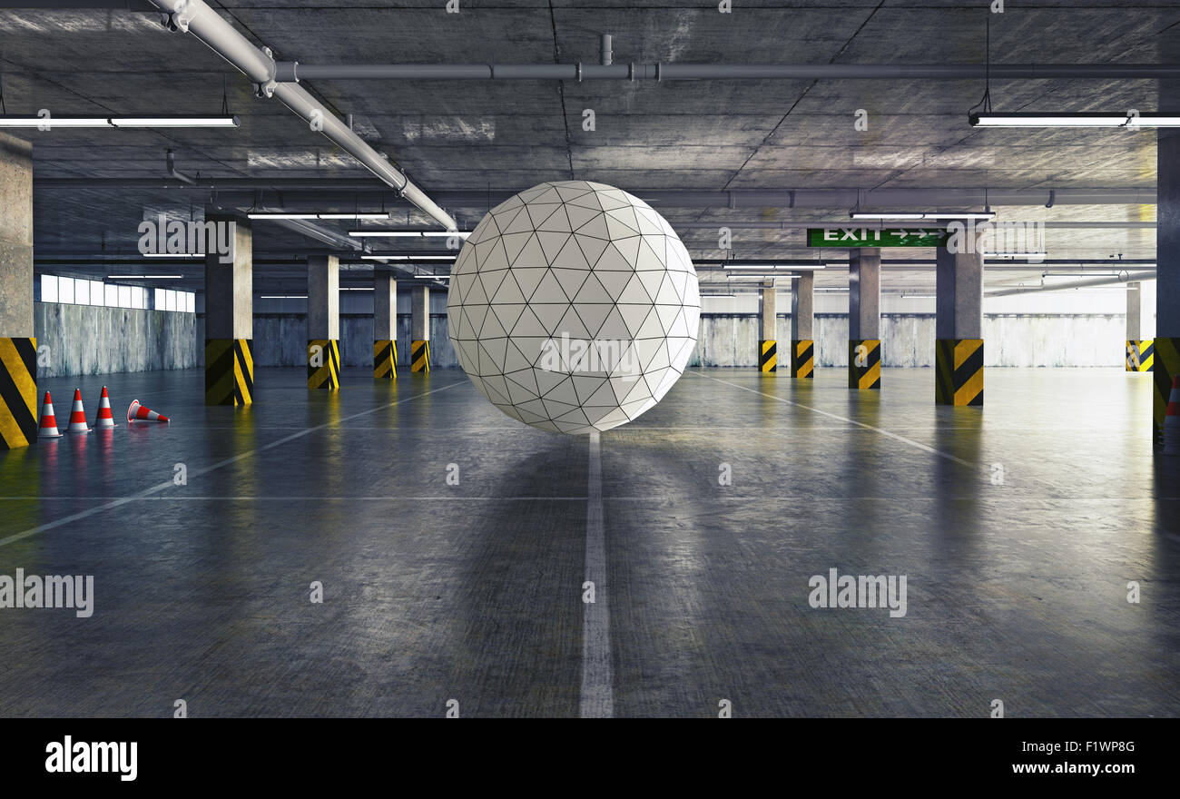 geometrical sphere in the parking. 3d creative concept - Stock Image