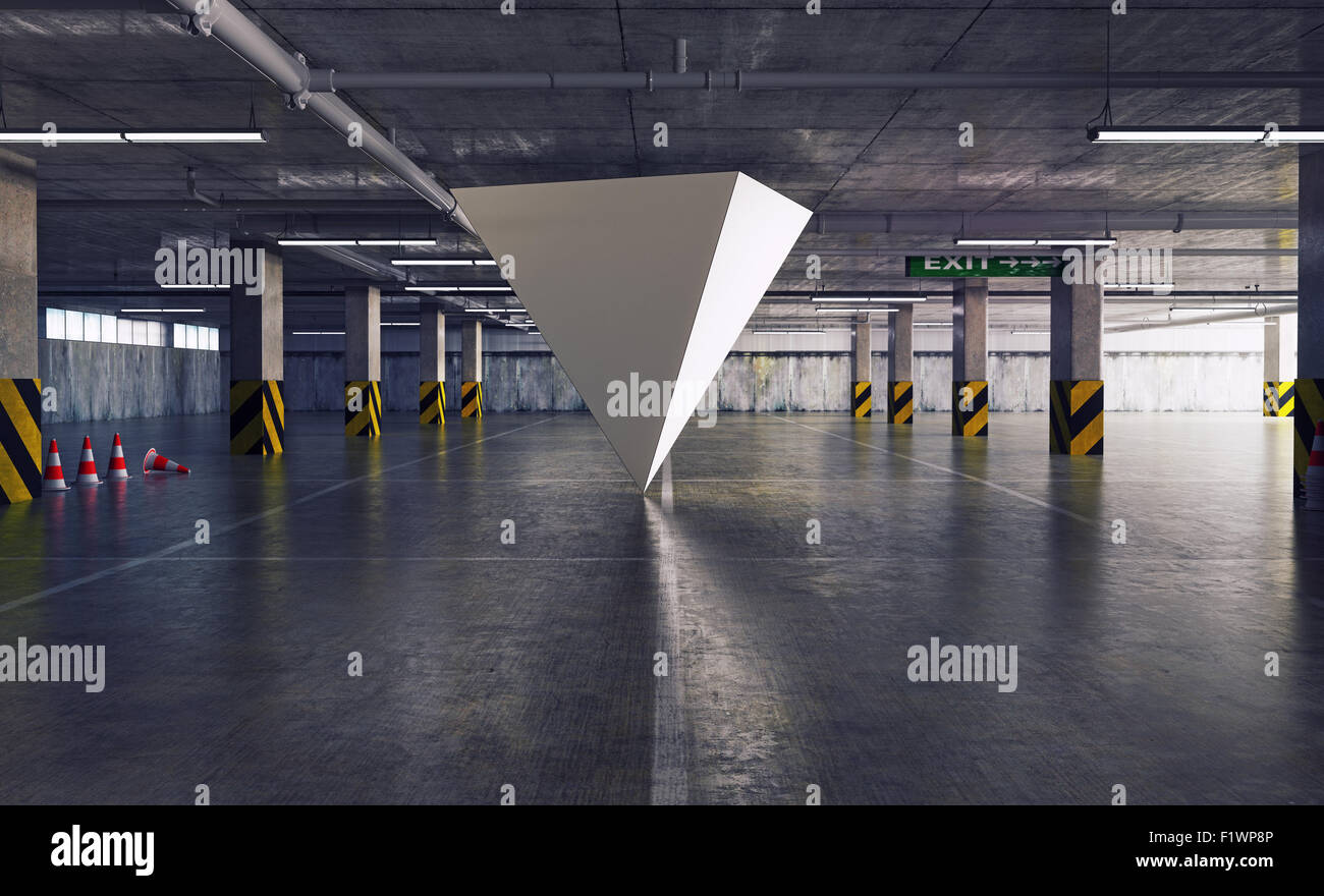 geometric figure pyramid in the parking. 3d creative concept - Stock Image