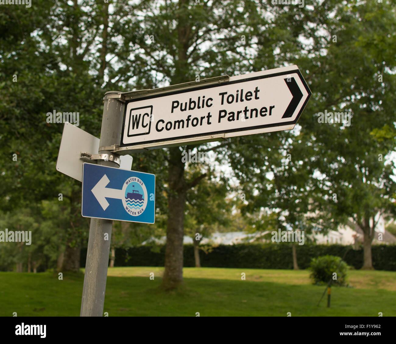 Public Toilet provided by the Oak Tree Inn,  Balmaha, Loch Lomond, Scotland under Stirling Council Comfort Partnership - Stock Image