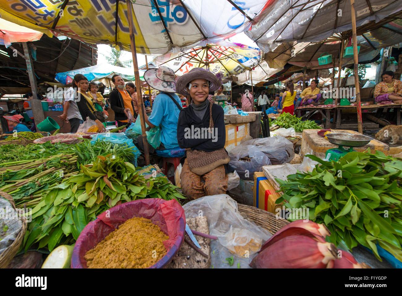 Siem Reap's Psar Leu Market. Local market. Siem Reap, Cambodia Stock Photo