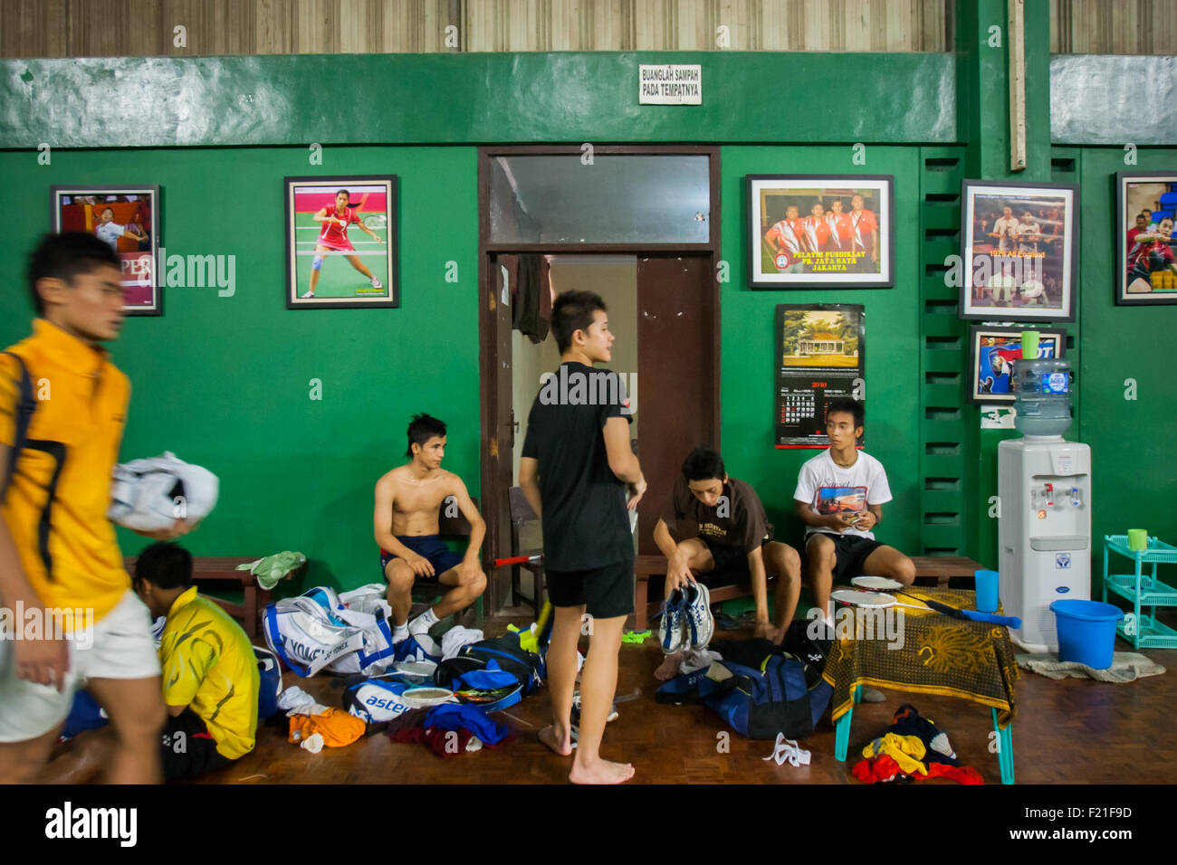 Indonesian young badminton players after training session at Jaya Raya sports hall in Jakarta, Indonesia. - Stock Image