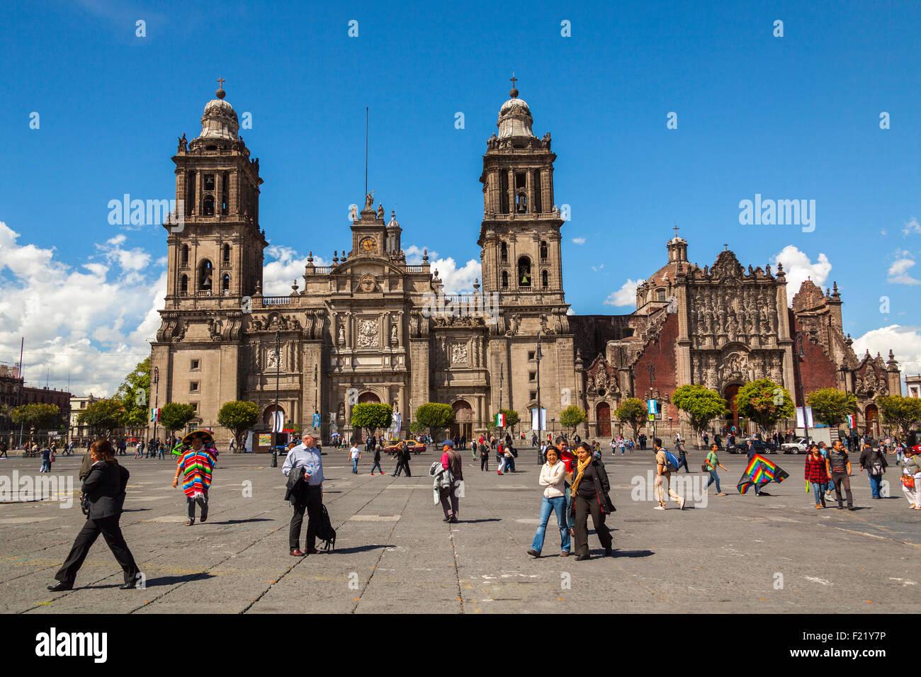 Metropolitan Cathedral Catedral Metropolitana Asuncion de Maria Plaza de la Constitucion Zocalo square Mexico City - Stock Image