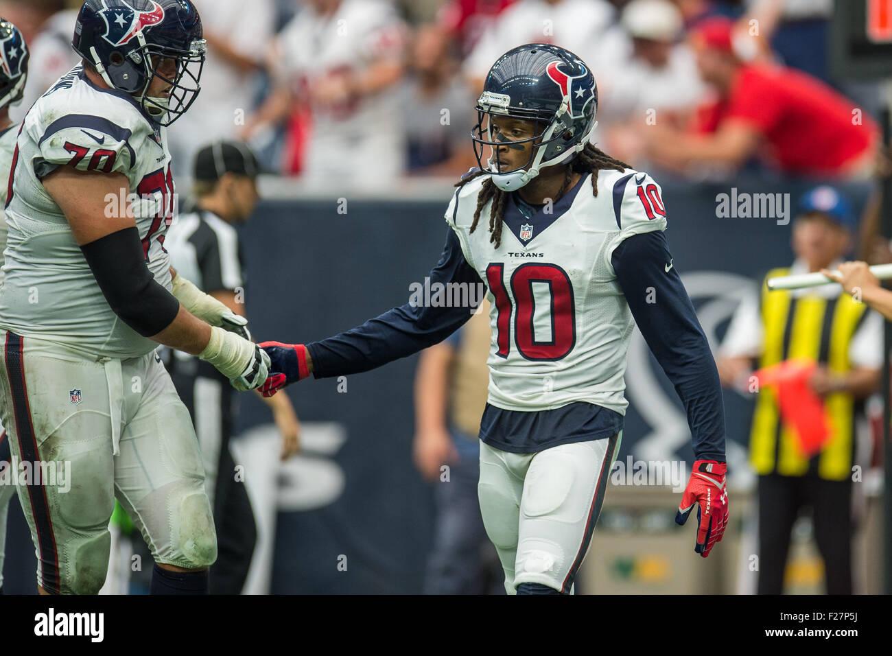 Houston, Texas, USA. 13th Sep, 2015. Houston Texans wide receiver DeAndre Hopkins (10) celebrates with Houston Texans Stock Photo