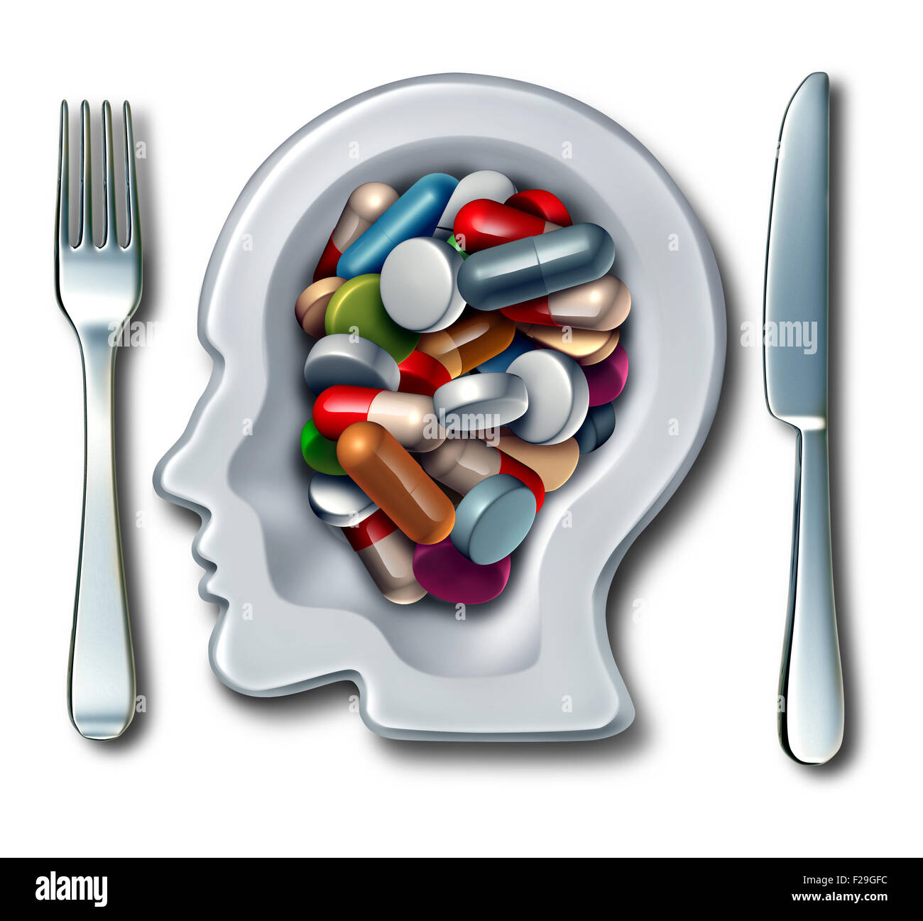 Brain drugs and neuroscience medicine concept as a dinner plate with knife and fork shaped as a human head with - Stock Image