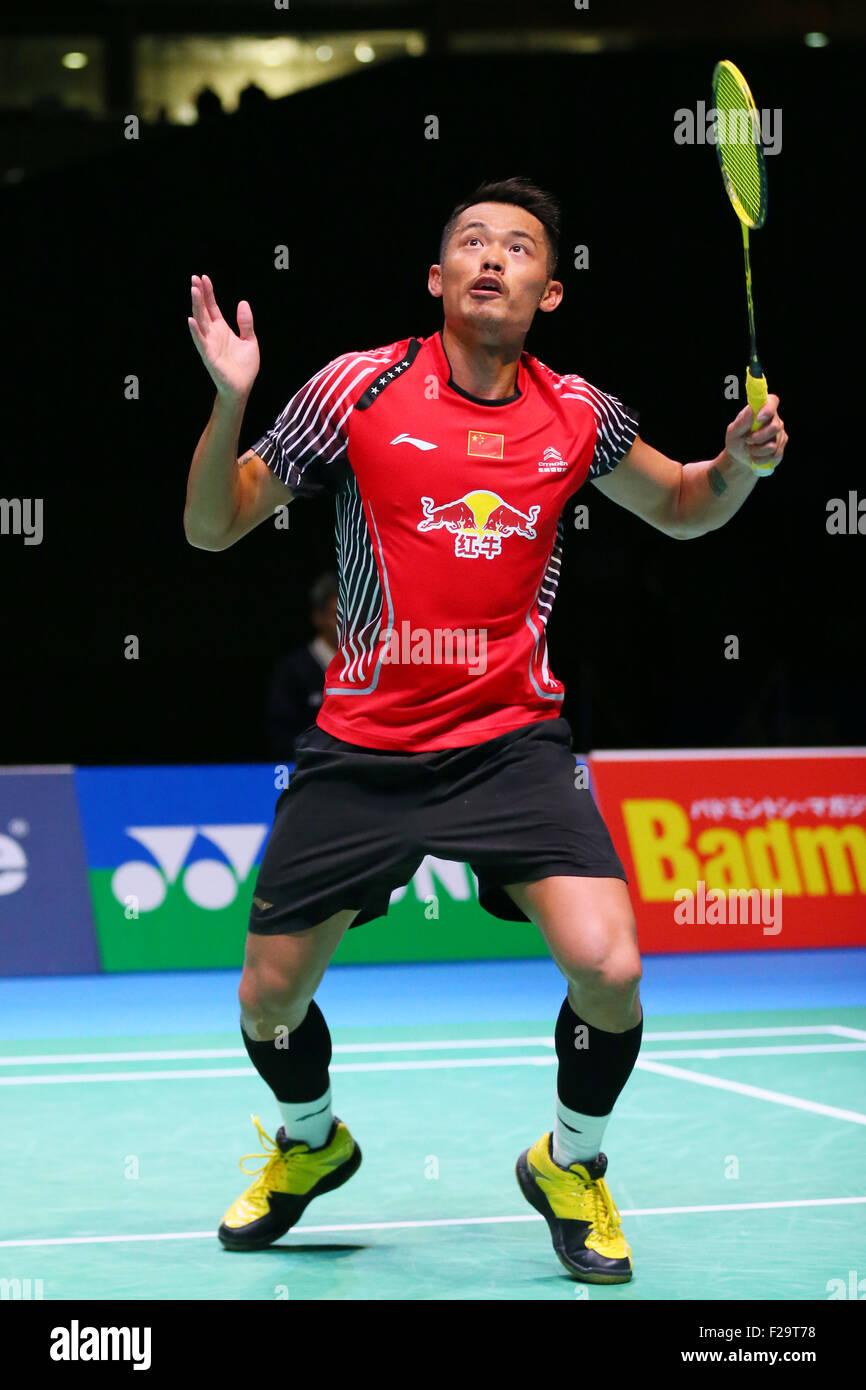 Tokyo Metropolitan Gymnasium, Tokyo, Japan. 13th Sep, 2015. Lin Dan (CHN), SEPTEMBER 13, 2015 - Badminton : Yonex - Stock Image