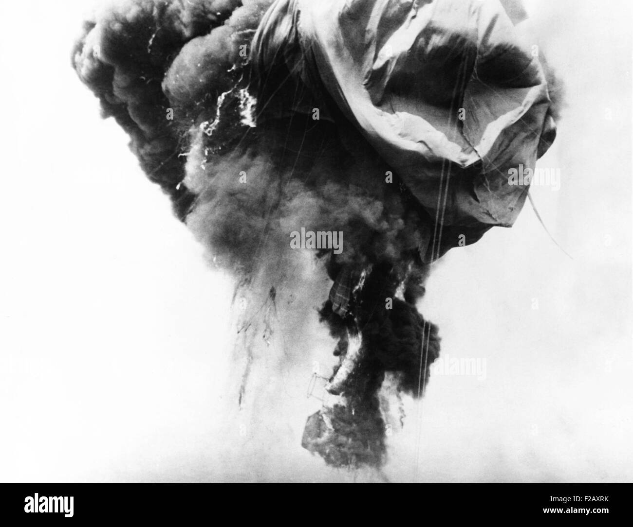 Auguste Piccard's balloon destroyed by fire, May 31, 1937. A stratosphere balloon, in which Prof. Auguste Piccard - Stock Image