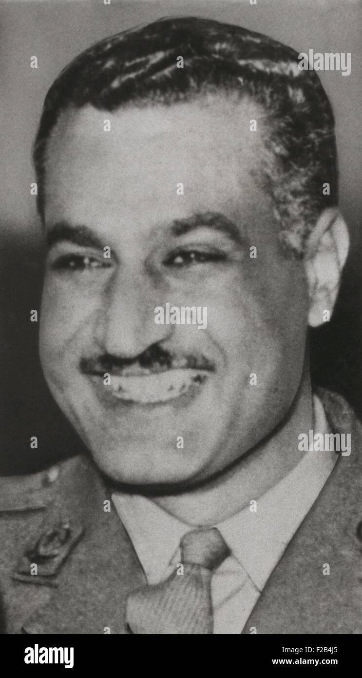 Gamal Abdel Nasser, President of Egypt in 1956. Nasser advocated Pan-Arab unity and formed the United Arab Republic - Stock Image