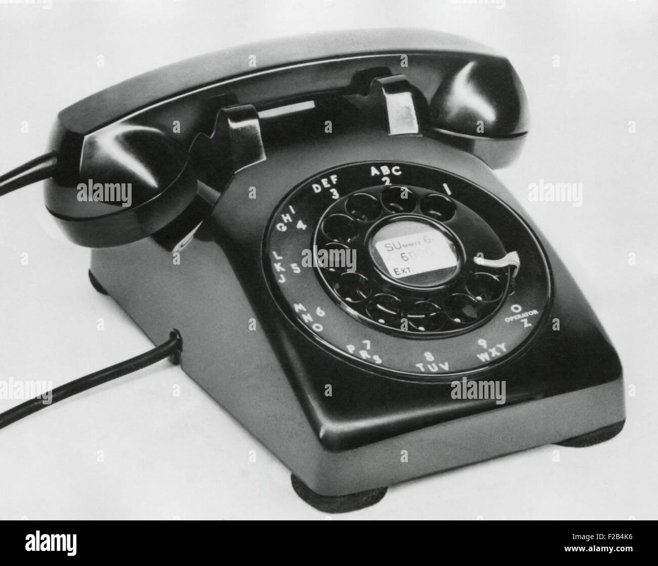Western Electric model 500 Rotary dial telephone made in the 1950s. It remained the Bell System's standard model - Stock Image