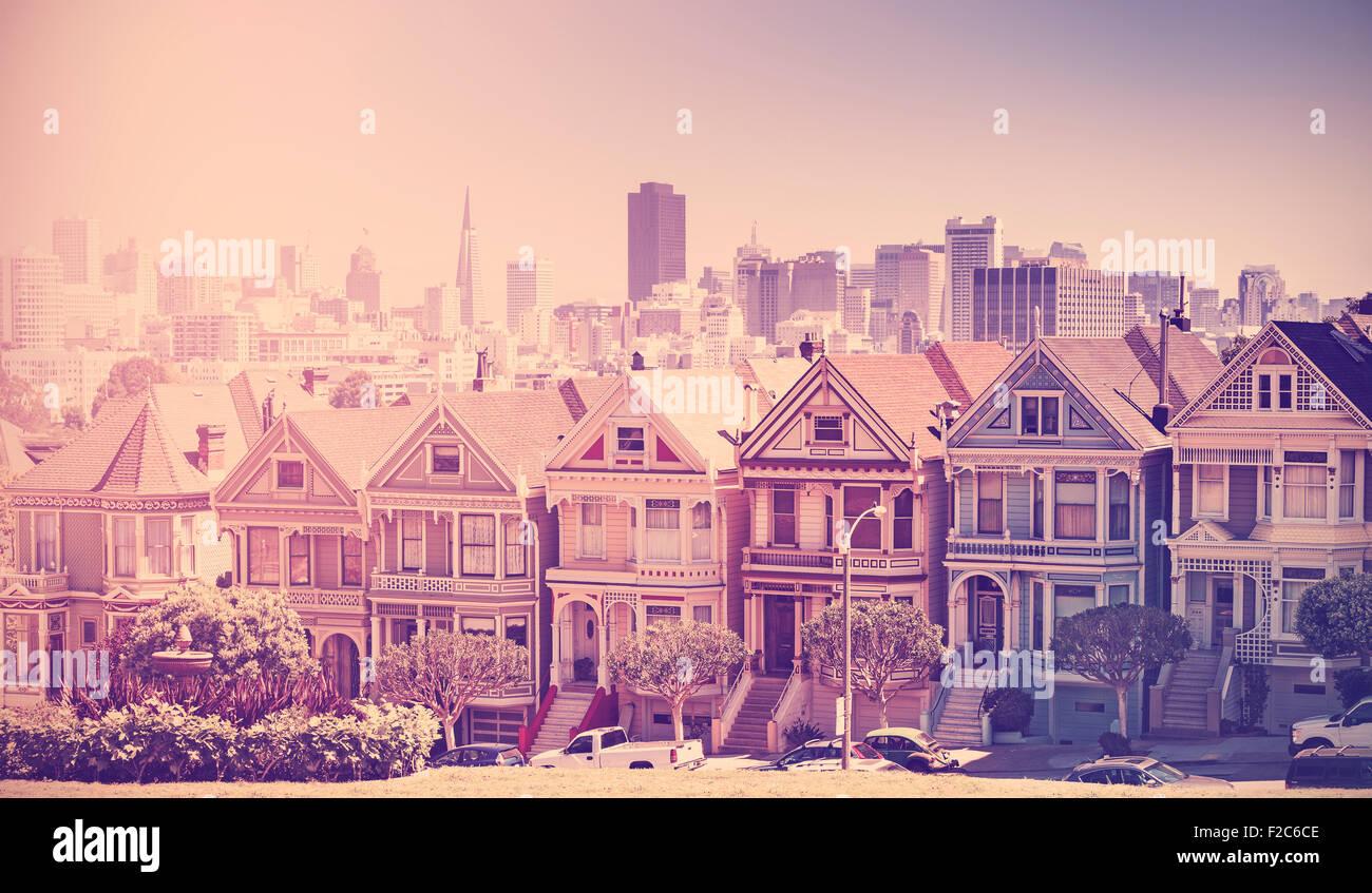 Retro vintage filtered photo of San Francisco skyline, old film style, USA. - Stock Image