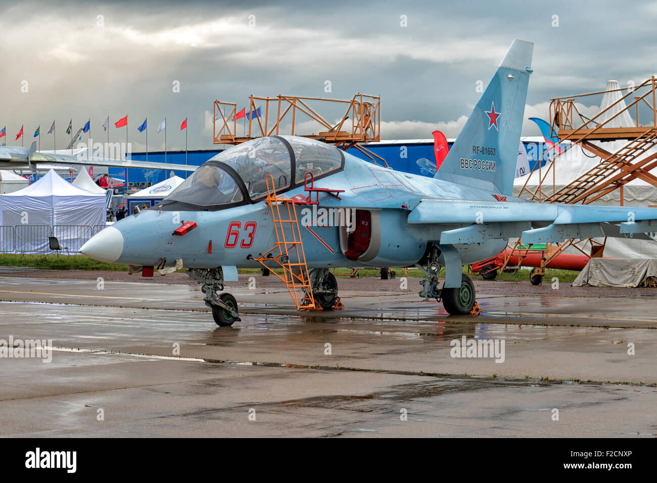Yakovlev Yak-130 at MAKS 2015 Air Show in Moscow, Russia - Stock Image