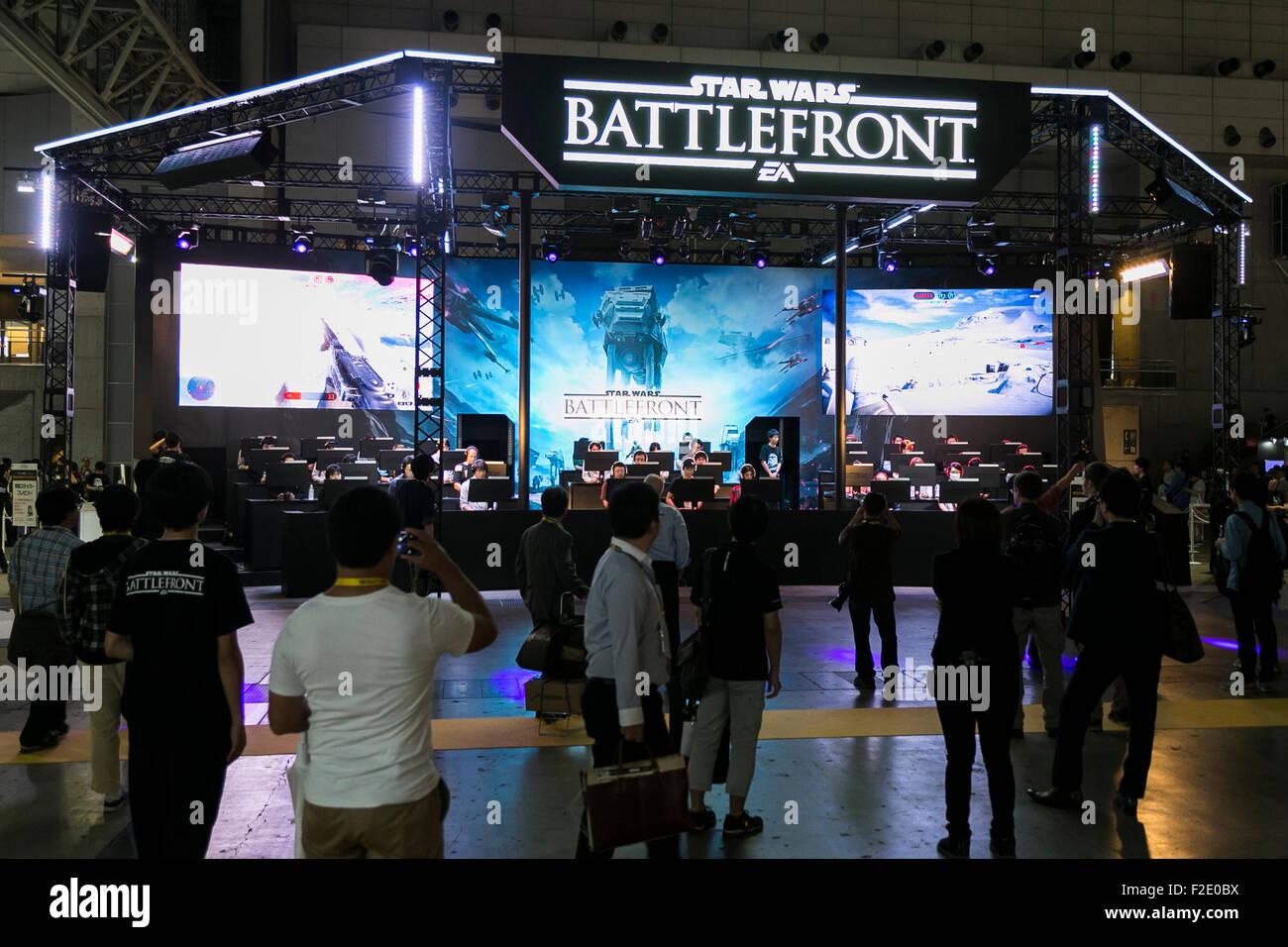 Tokyo, Japan. 17th September, 2015. Visitors gather at the Tokyo Game Show on September 17, 2015, Chiba, Japan. - Stock Image