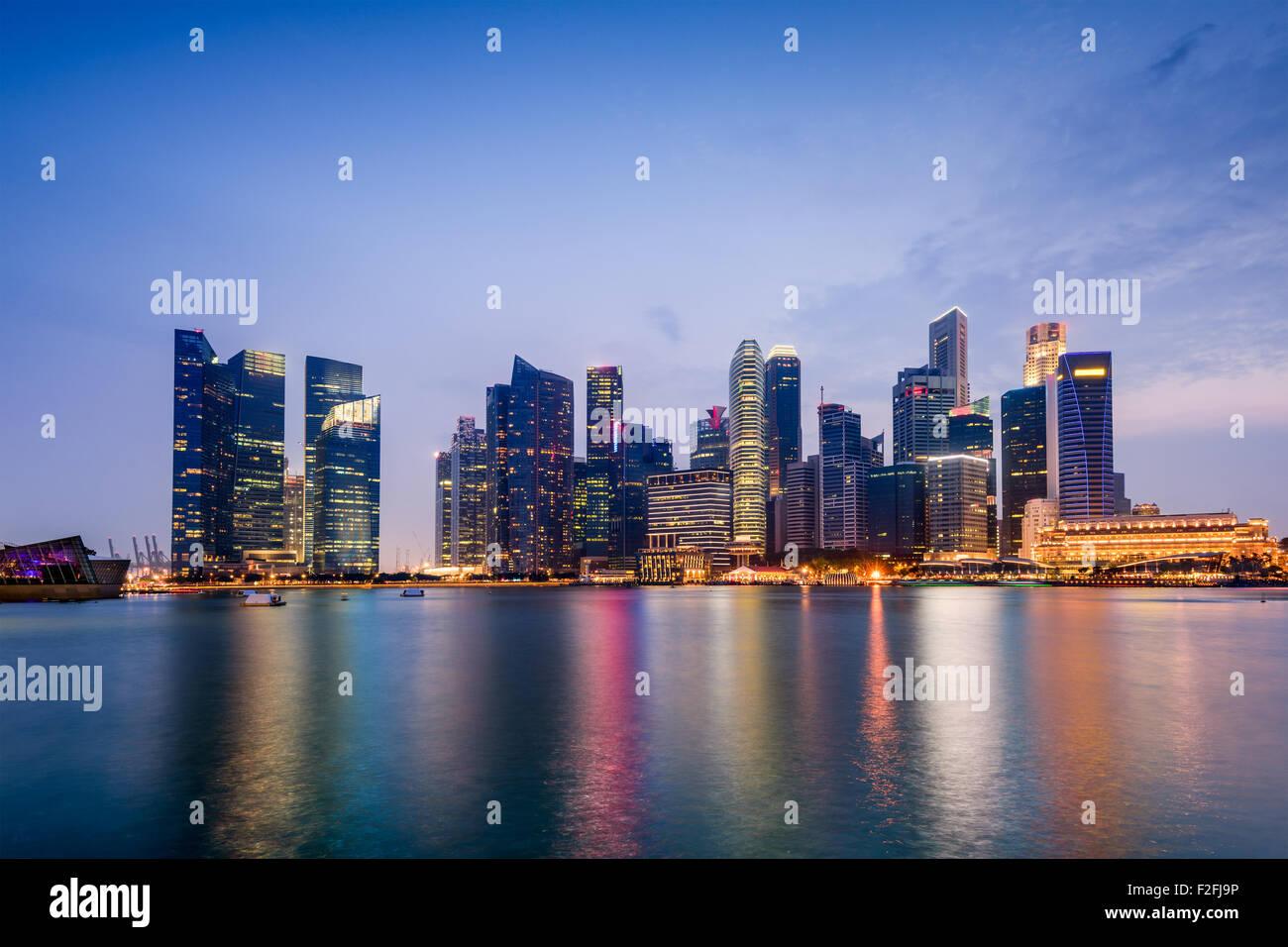 Singapore skyline on Marina Bay. - Stock Image