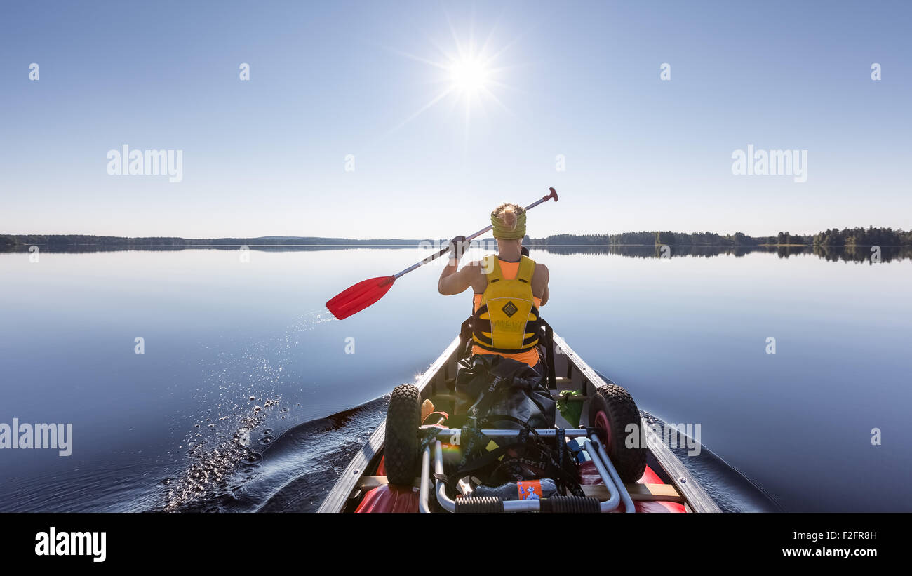 Canoeing at Jämsä, Finland, Europe, EU - Stock Image