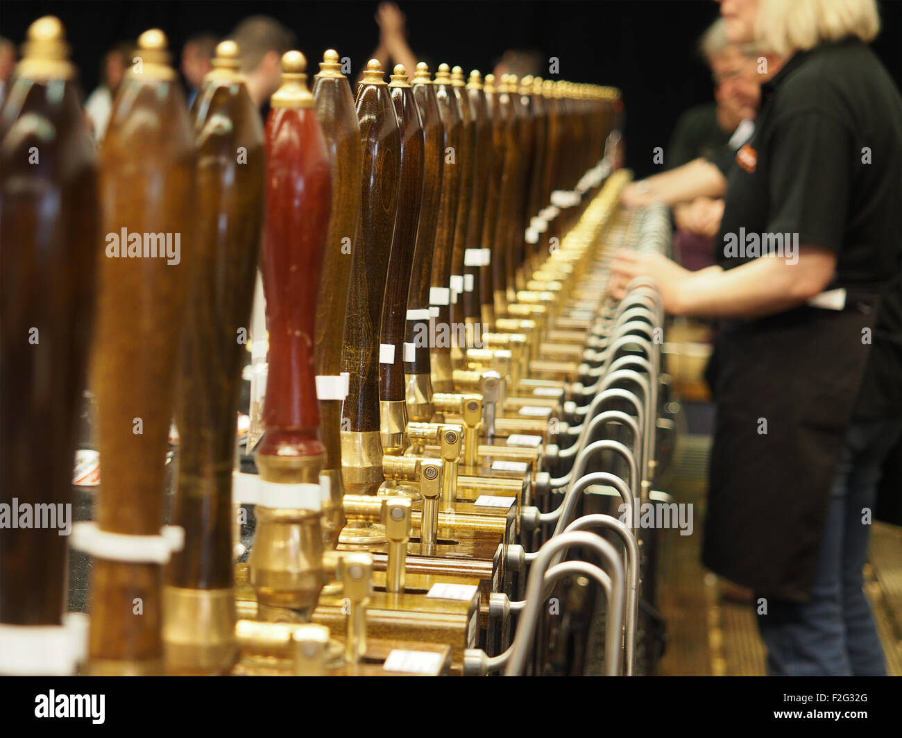 Behind the bar at a beer festival Stock Photo