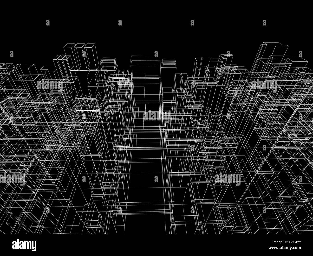 Digital background with cubic 3d structure, white wire-frame lines ...