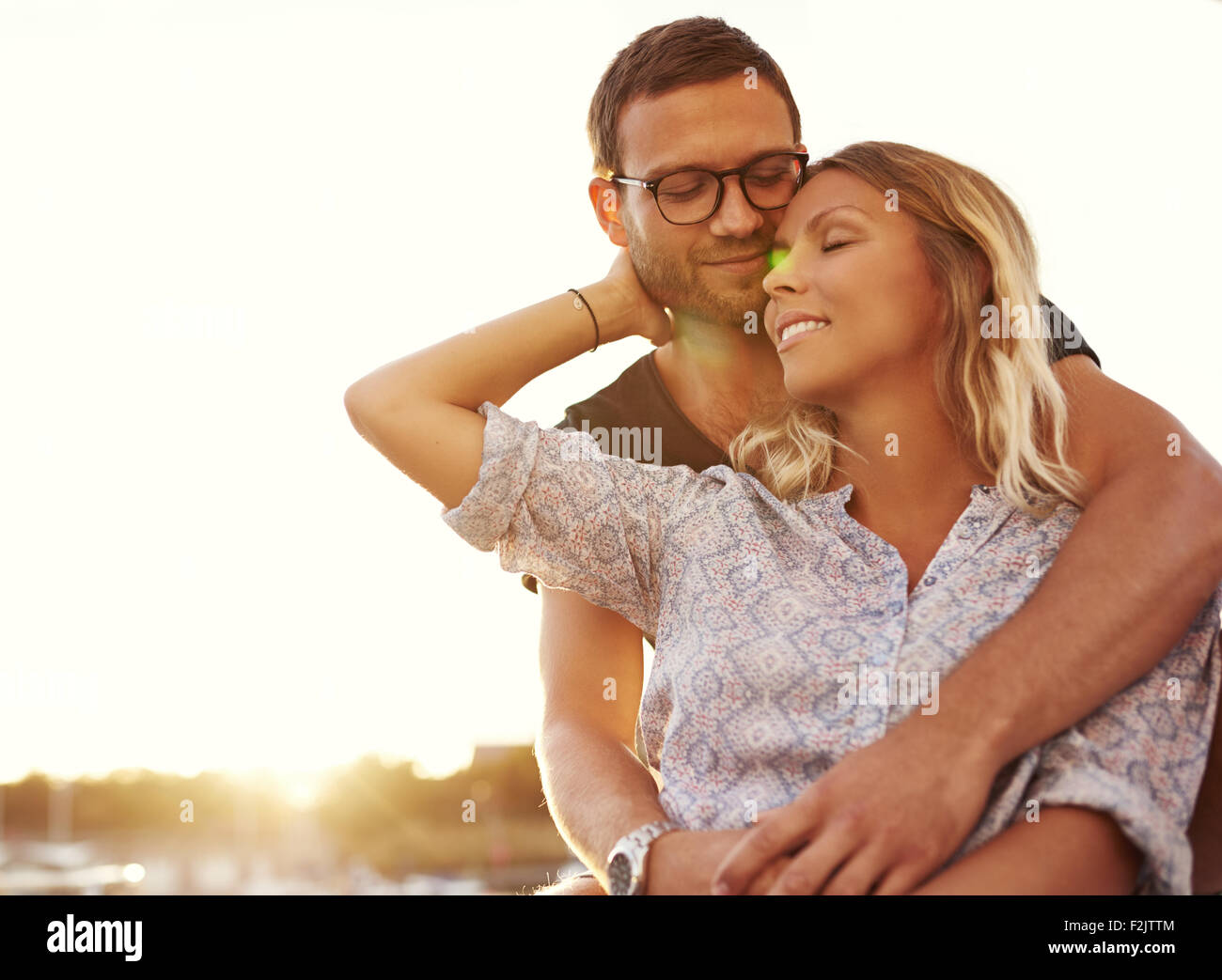 Husband And Wife on Vacation on a Warm Summer - Stock Image