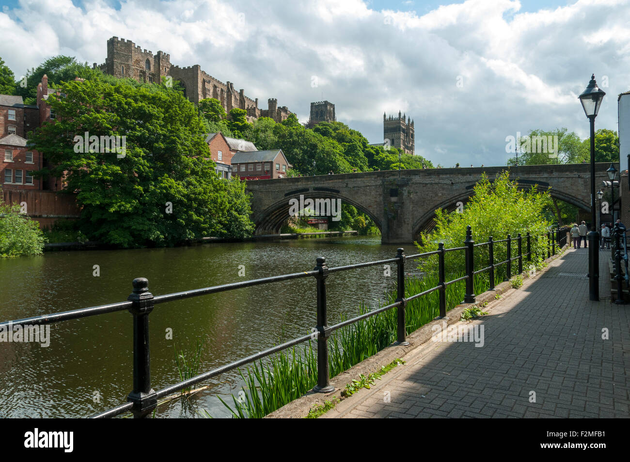 Durham Castle The Cathedral And Framwellgate Bridge From The River