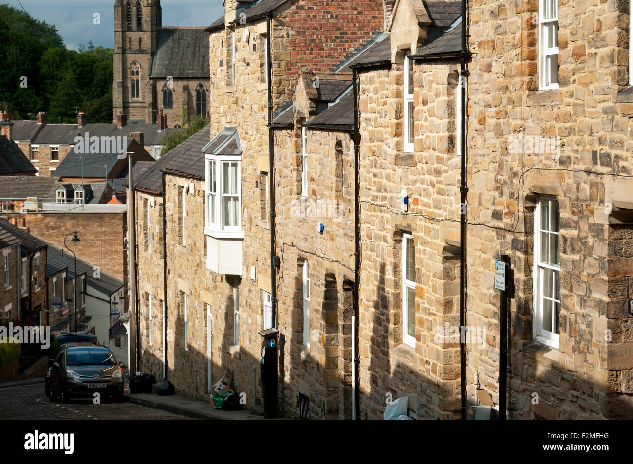 Stone Built Terraced Houses On A Steeply Sloping Street, Neville Street,  Durham City, England, UK