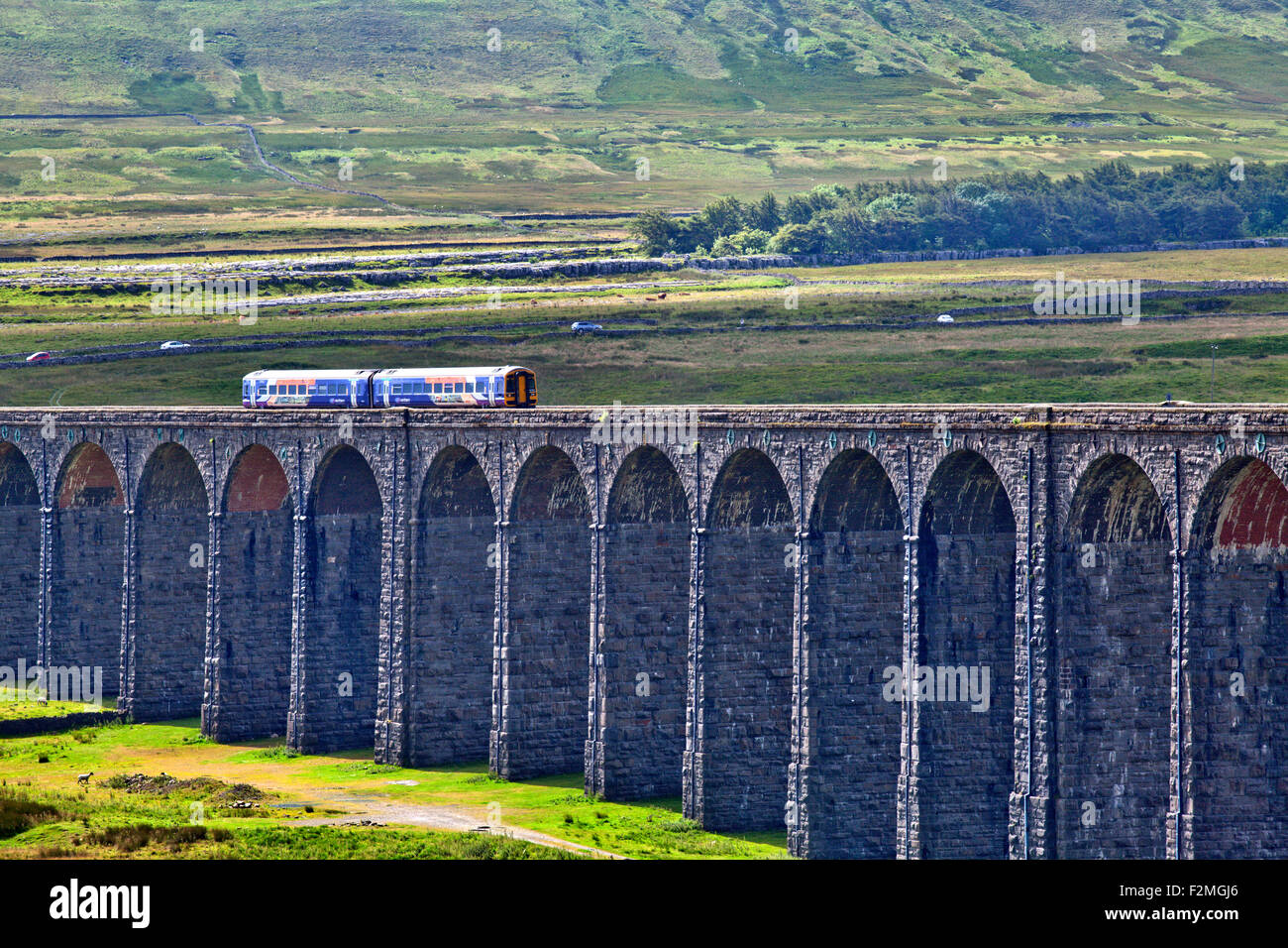 Northern Rail Train Crossing the Ribblehead Viaduct Yorkshire Dales North Yorkshire England - Stock Image