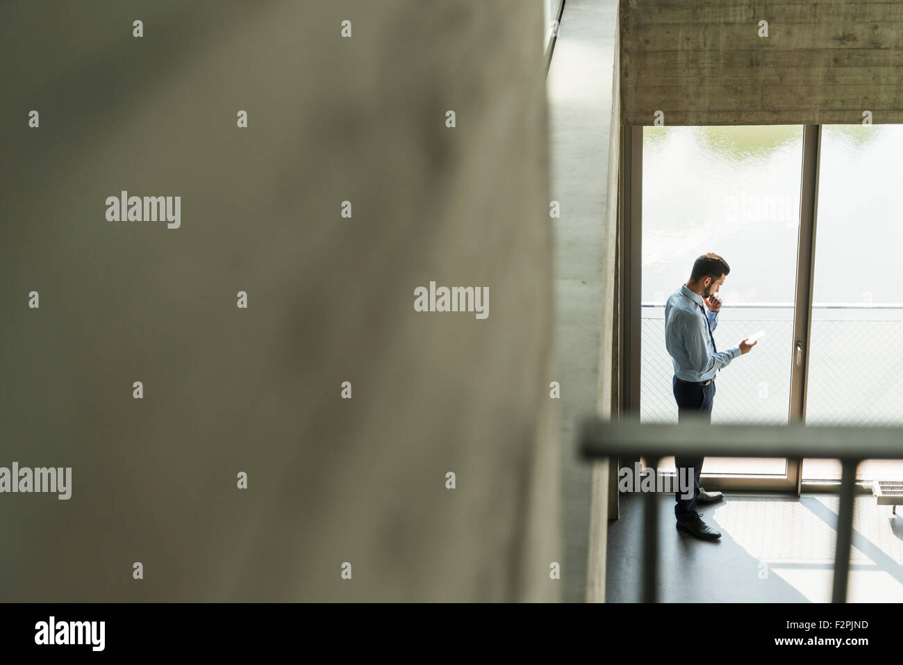 Young businessman looking on cell phone at the window - Stock Image
