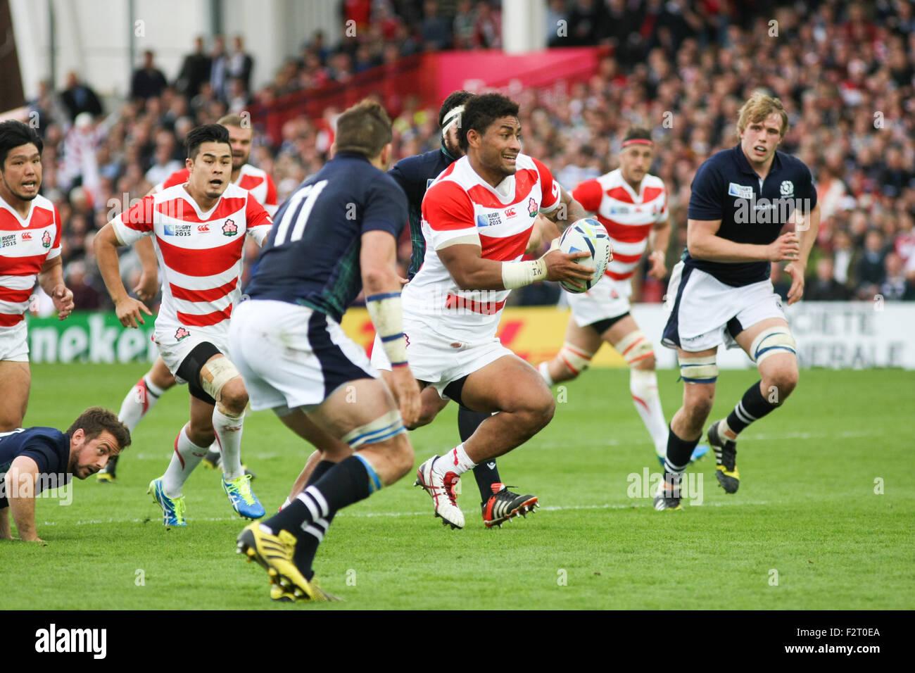 Gloucester, UK. 23rd September, 2015. Rugby World Cup 2015 - Scotland versus Japan, played at Kingsholm stadium, - Stock Image