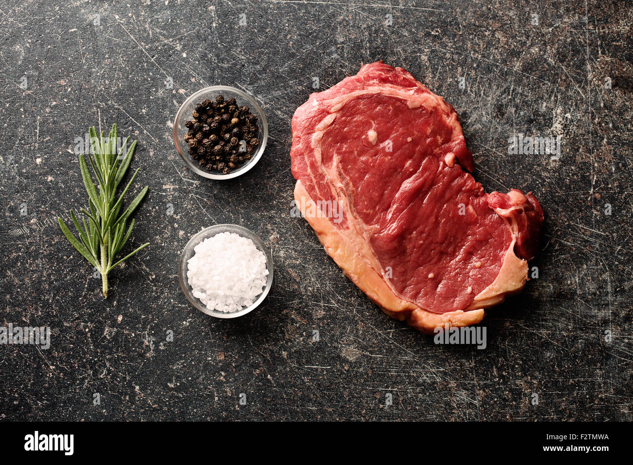 top view of fresh raw beef - Stock Image