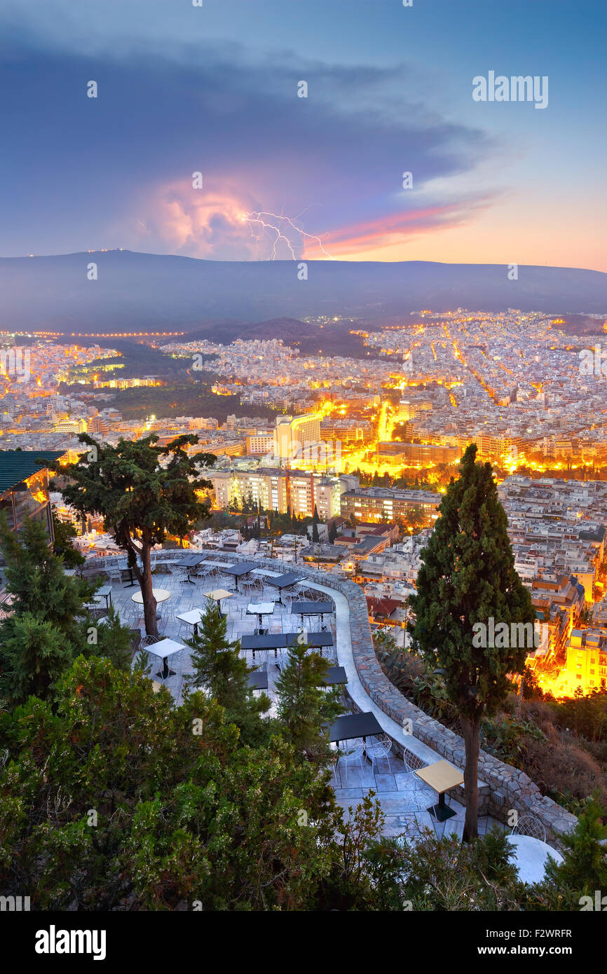 Morning storm over Hymettus mountain in Athens as seen from Lycabettus hill. - Stock Image