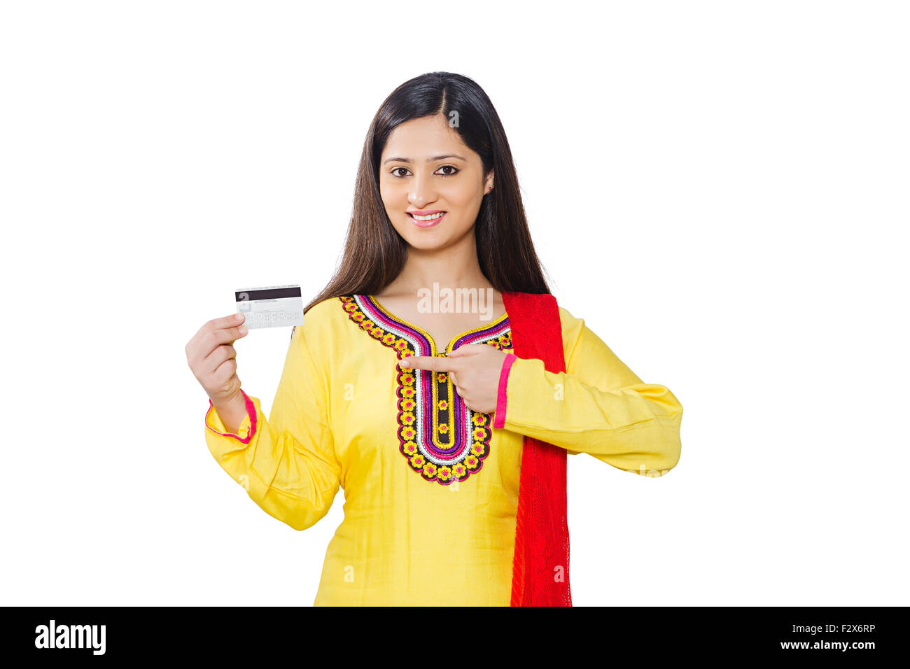 1 indian woman housewife credit card showing finger pointing stock