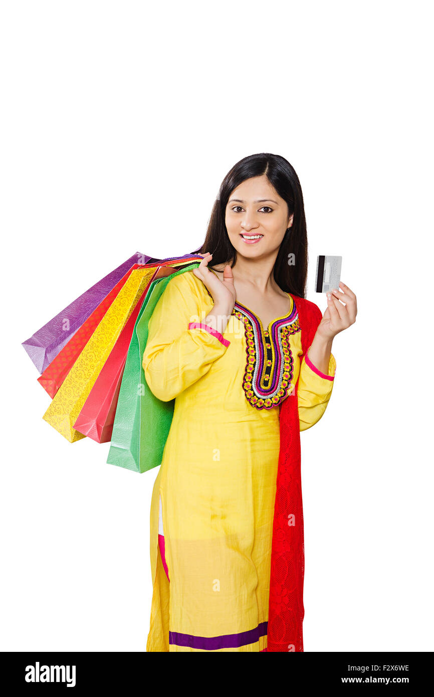 1 indian woman housewife diwali credit card online shopping stock