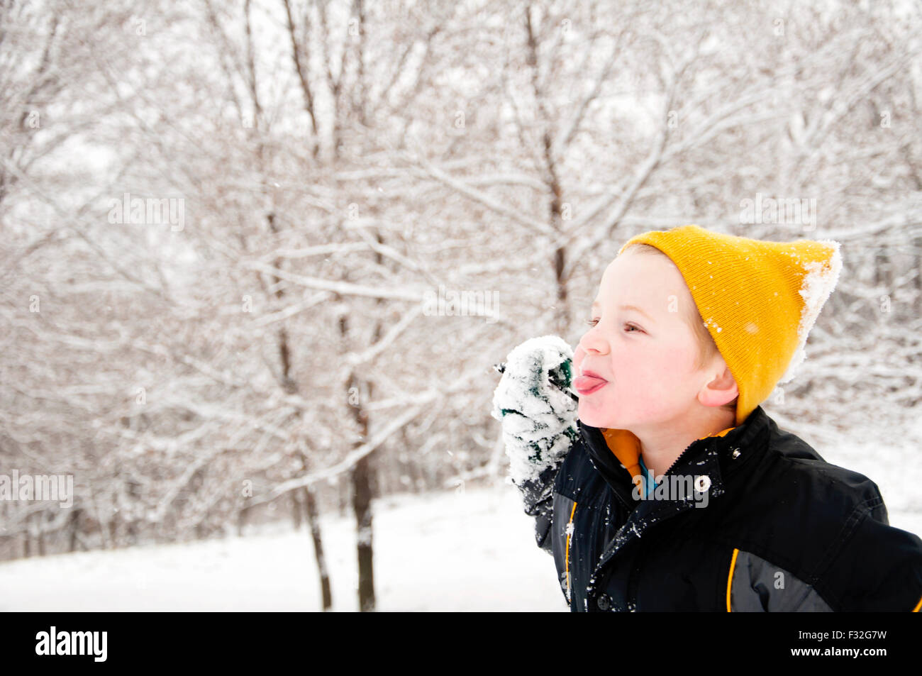 Boy sticking out tongue winter landscape - Stock Image