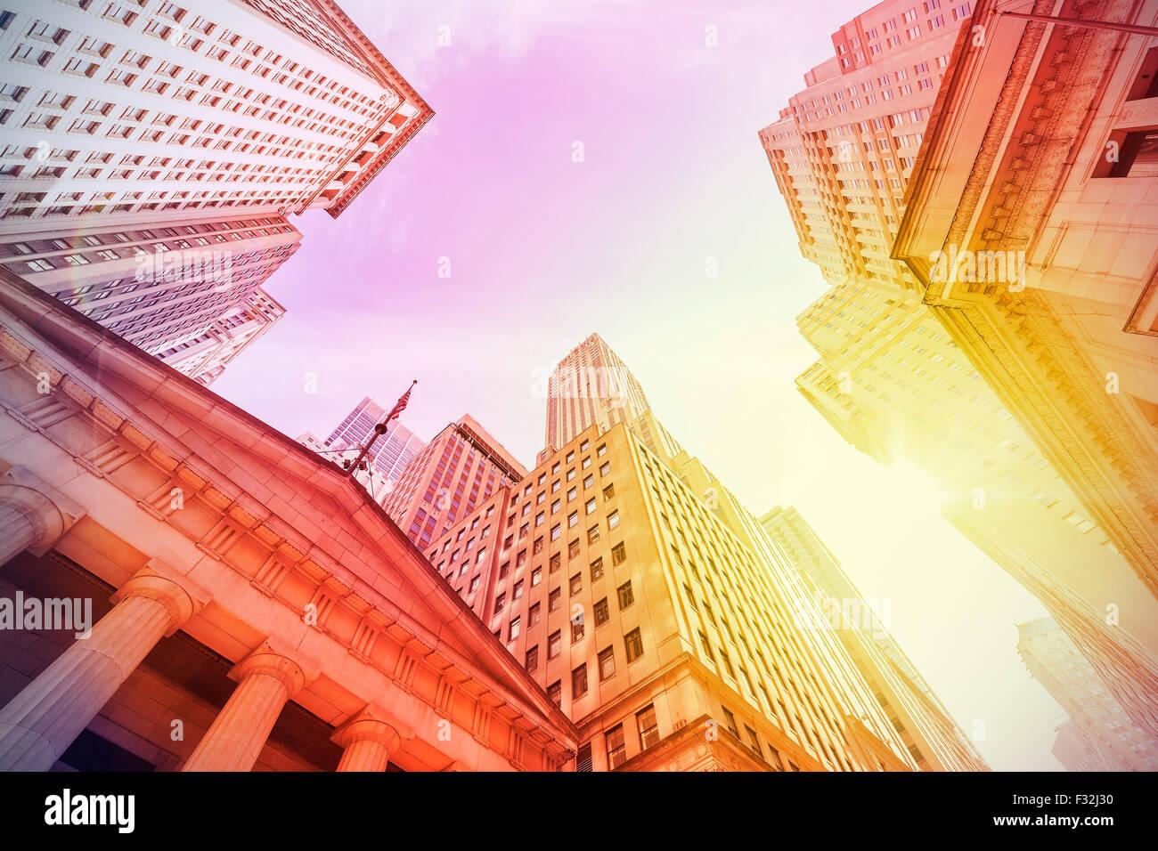 Vintage instagram filtered Wall Street at sunset, Manhattan, New York City, USA. - Stock Image