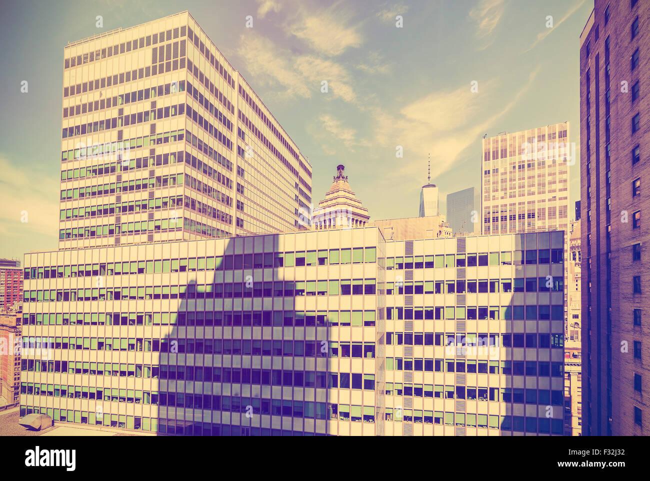 Vintage stylized view of Manhattan, New York City, USA. - Stock Image