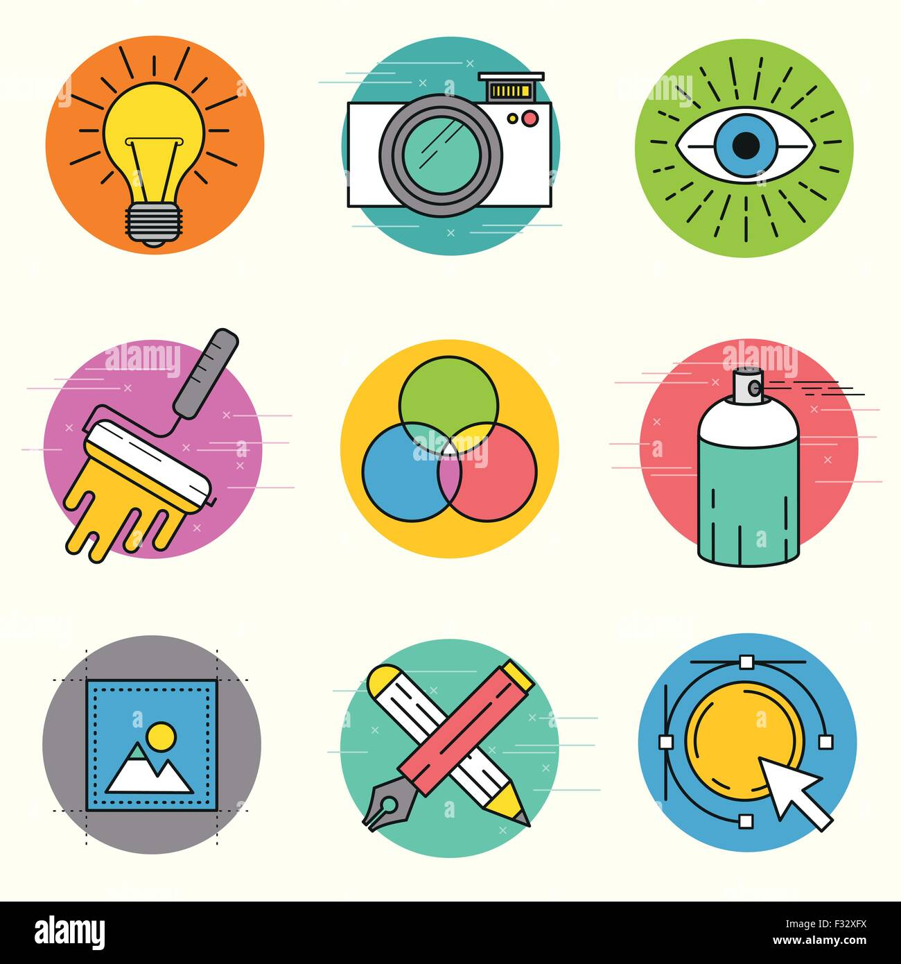 Creative Vector Icon Set. A collection of design themed line icons including art tools, digital design and creative - Stock Image