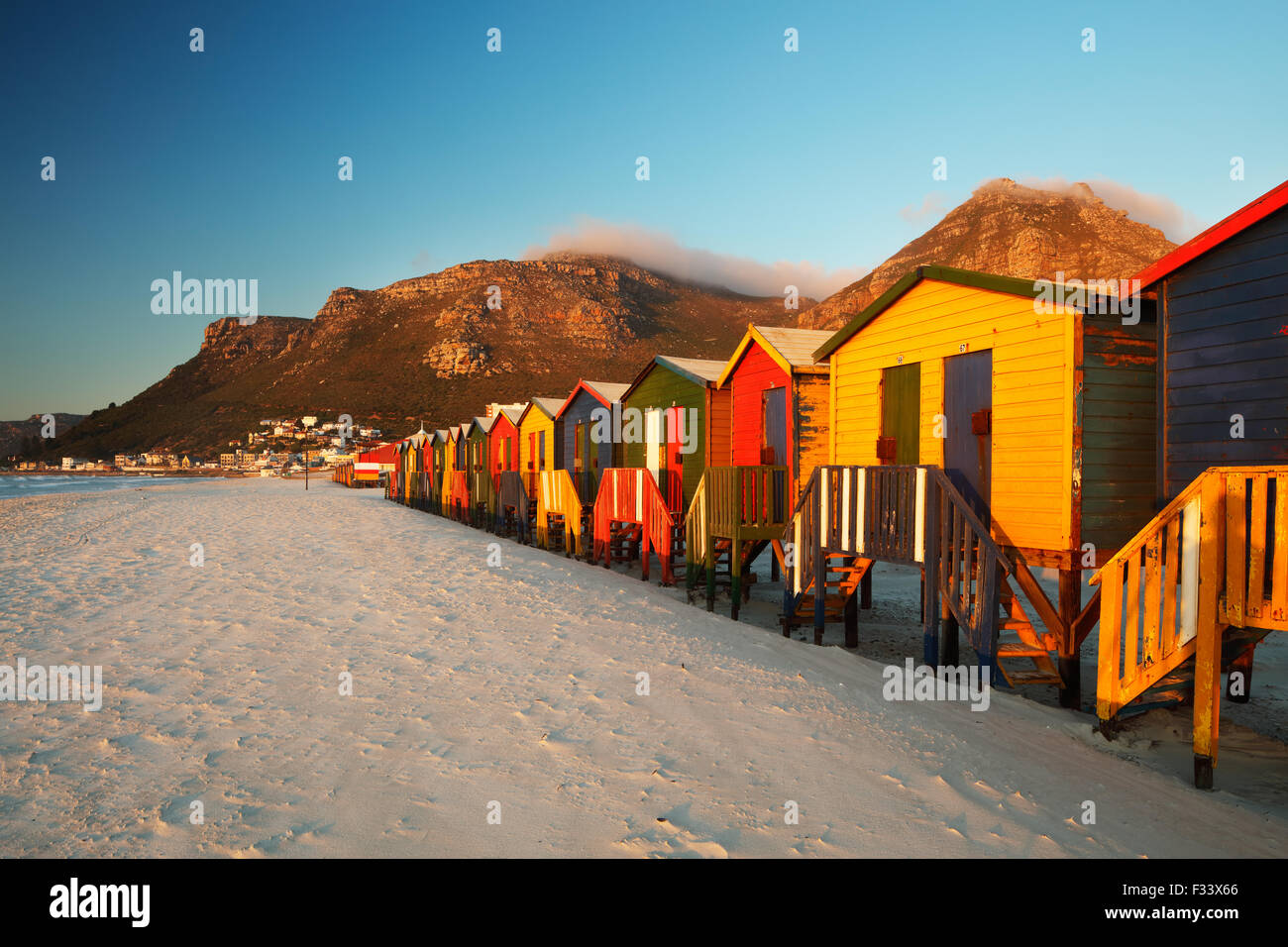beach huts on Muizenberg Beach, Cape Town, South Africa - Stock Image
