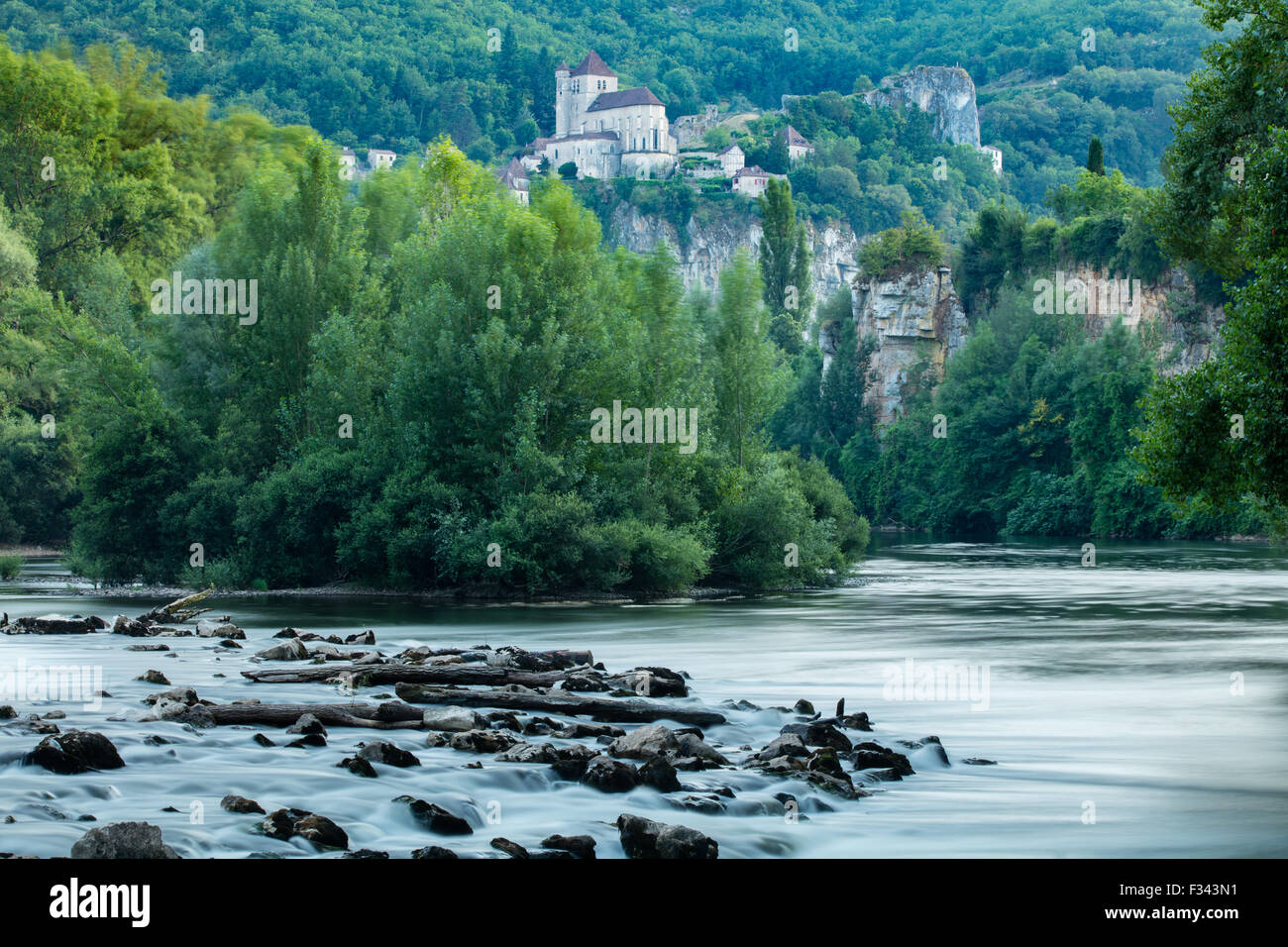 the River Lot at St Cirque Lapopie, Quercy, France - Stock Image