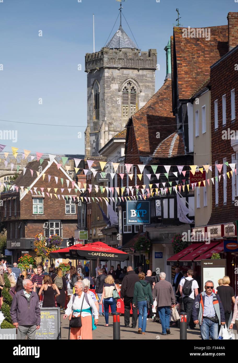 Shoppers in Salisbury High Street, Salisbury, Wiltshire, UK - Stock Image