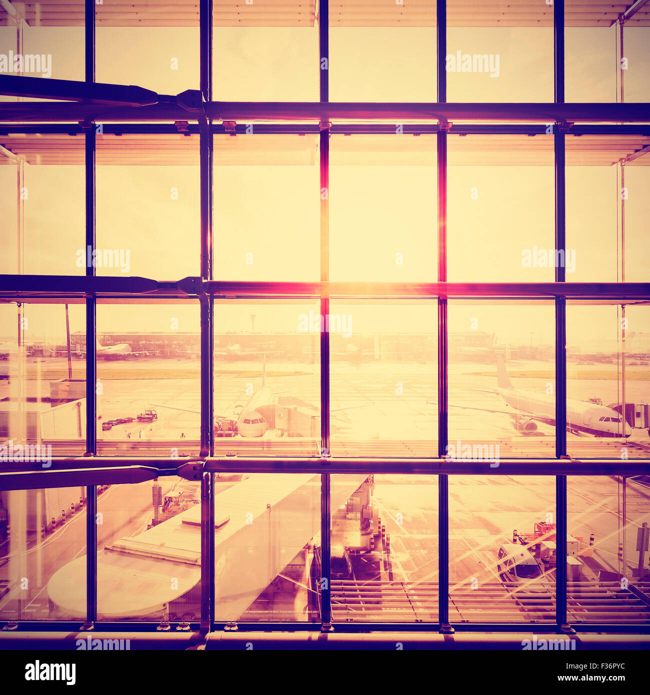 Instagram stylized picture of an airport, transportation and business travel concept. - Stock Image
