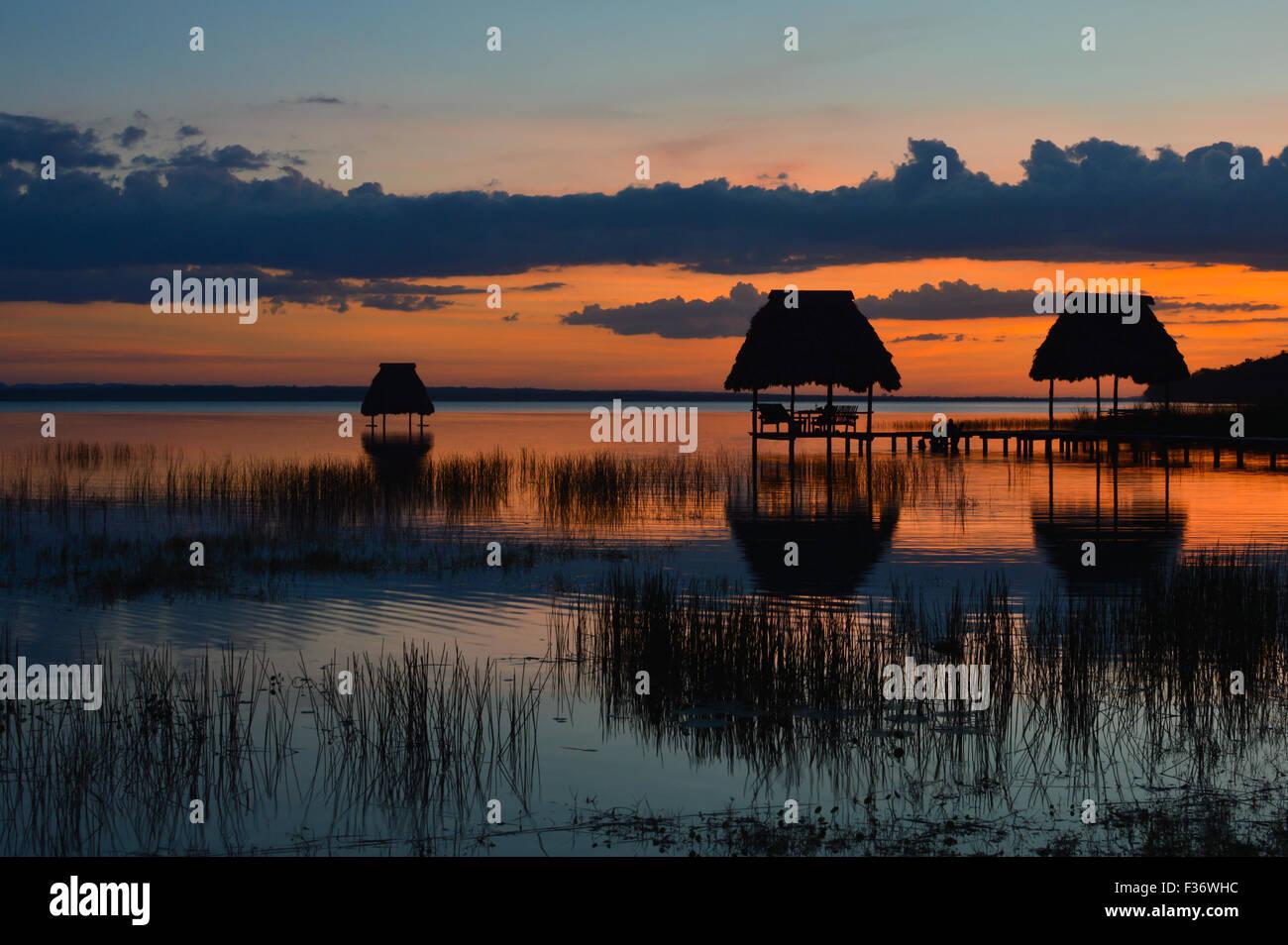 Sunset at the lake Peten Itza in El Ramate, Guatemala Stock Photo