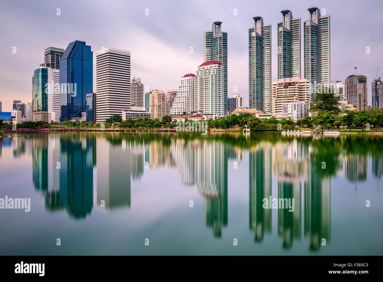 Bangkok, Thailand skyline from Benjakiti Park. - Stock Image
