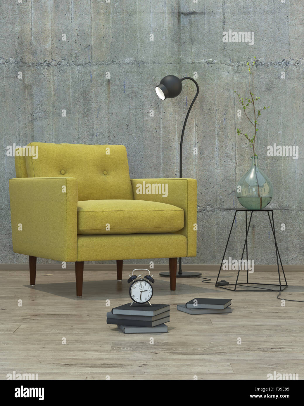 modern interior with yellow sofa background, 3D - Stock Image