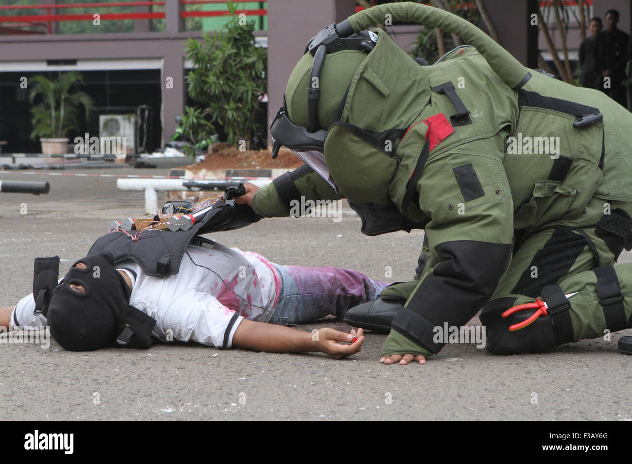 Member of bomb squad crippling suicide bombings terrorist and defuse explosive devices in simulated security in - Stock Image