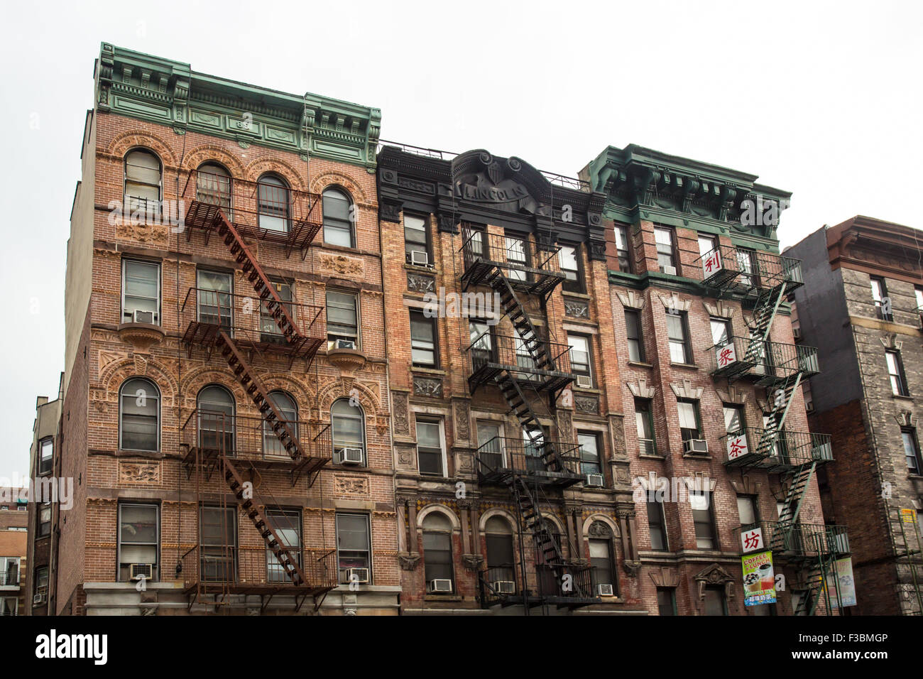 nyc apartment buildings. Typical New York City apartment building with fire escapes on the lower  east side of manhattan