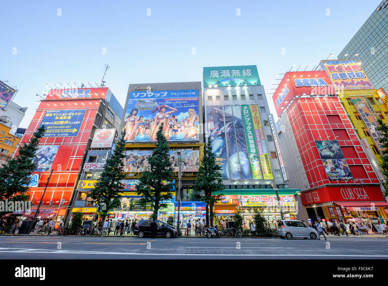 Billboards in Akihabara known as Electric Town or Geek Town selling Manga based games and videos in Tokyo Japan - Stock Image