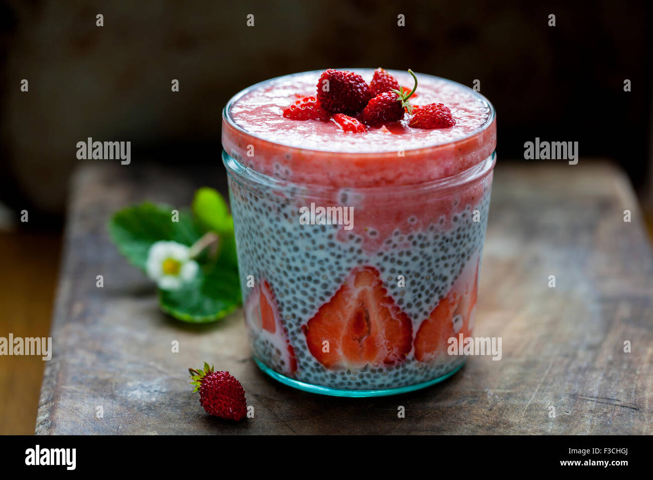 Strawberry smoothie with chia seeds pudding - Stock Image