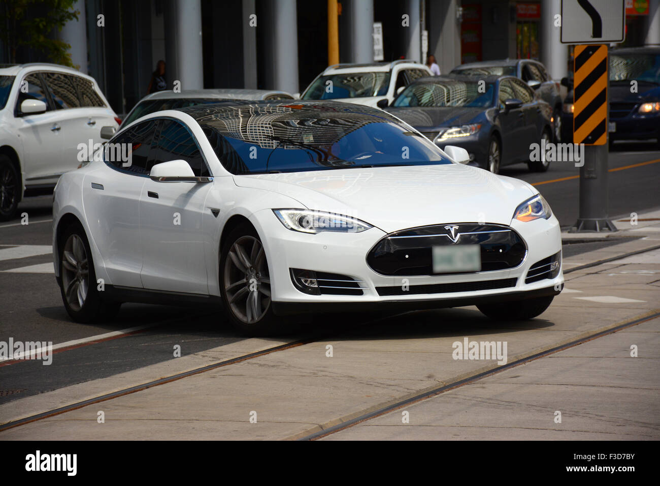Tesla, Electric car in Toronto streets, Canada - Stock Image