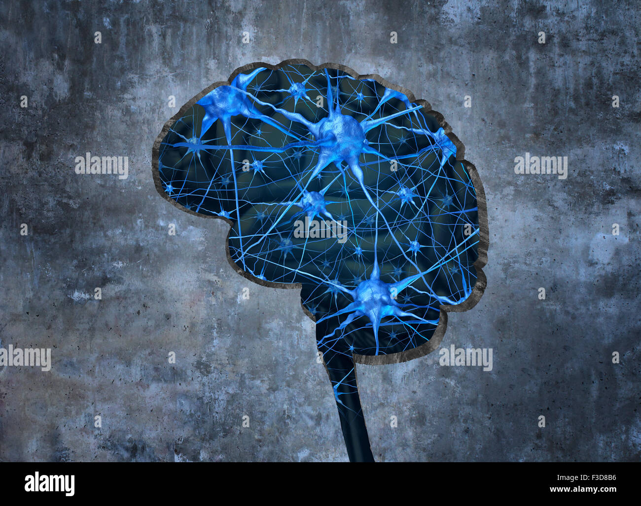 Inside human neurology research concept examining the mind of a human to heal memory loss or cells due to dementia - Stock Image