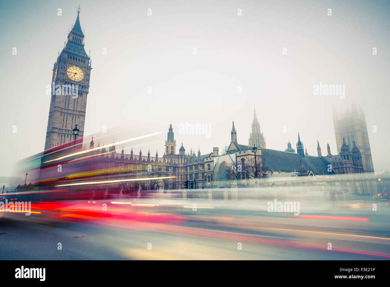 Big Ben and double-decker bus, London - Stock Image