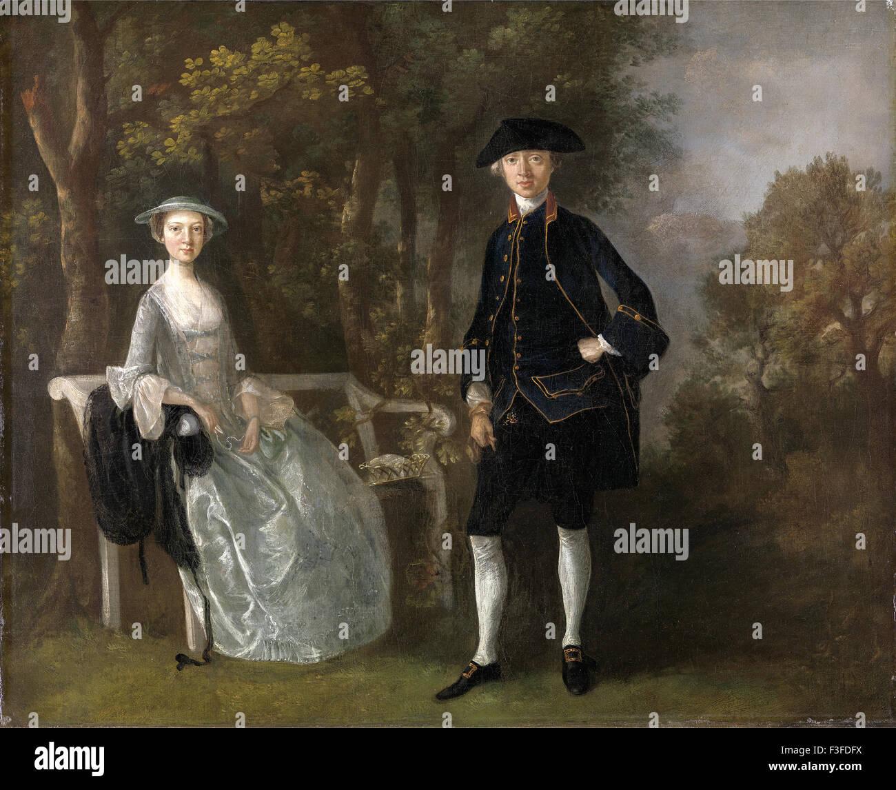 Thomas Gainsboroug - Lady Lloyd and Her Son, Richard Savage Lloyd, of Hintlesham Hall, Suffolk - Stock Image