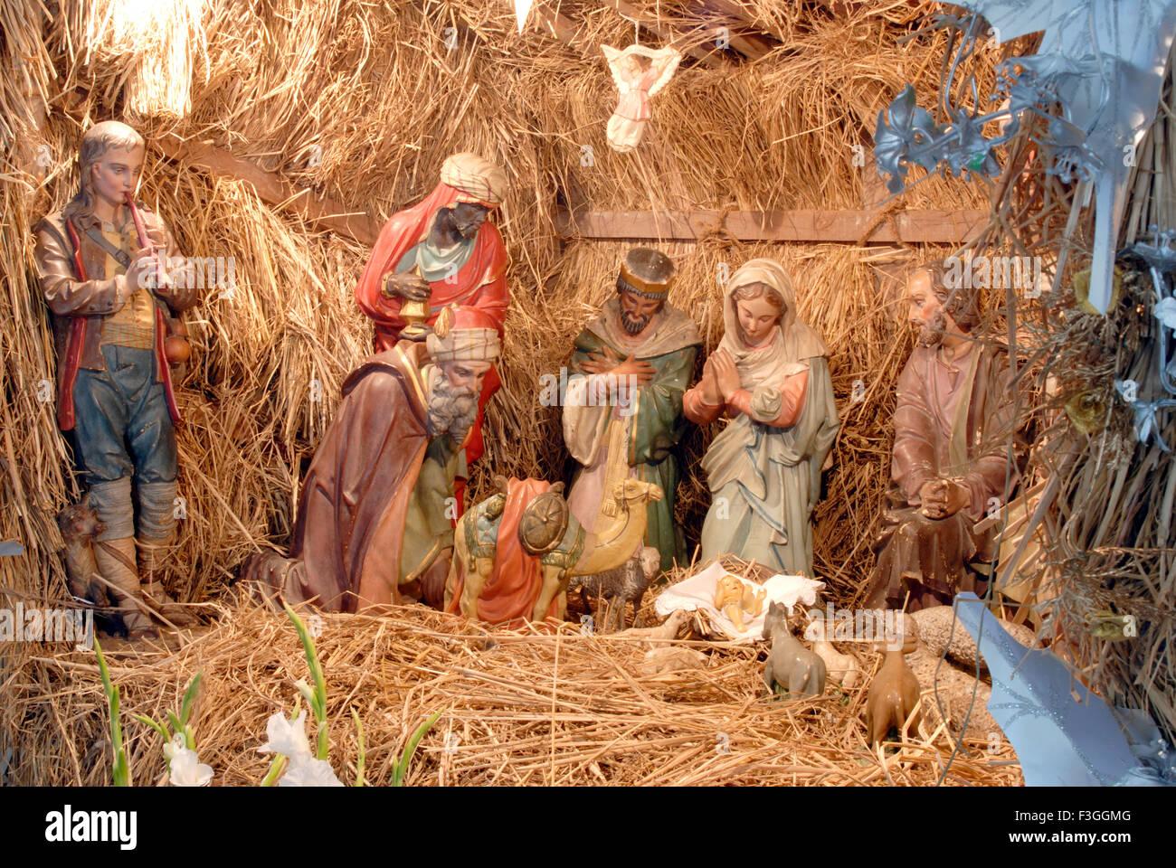 Christmas festival ; decoration ; scene of Jesus Birth ; Bombay now ...
