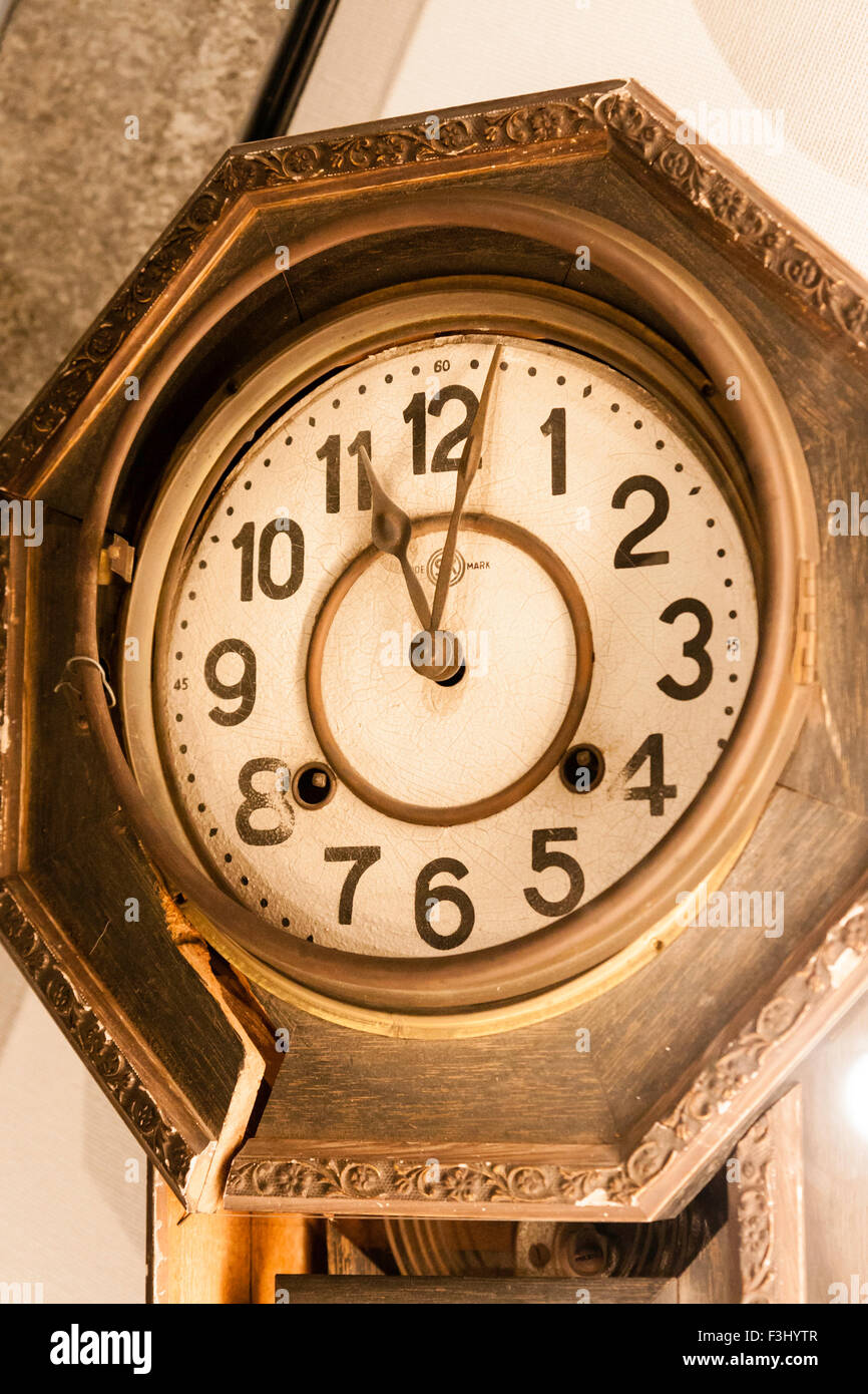 Nagasaki, Atomic bomb museum, broken clock showing 11:02, the time of the blast - Stock Image